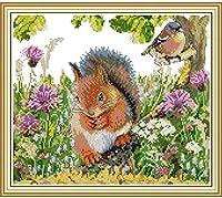 クロスステッチ刺繡スターターキット刻印クロスステッチキット11カラットリスと鳥16x20インチ初心者大人DIY刺繡クロスステッチ用品針仕事家の装飾