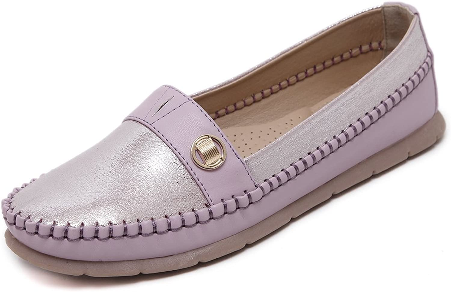 Giles Jones Women's Classic Flats Rubber Soft Sole Loafers Slip On shoes