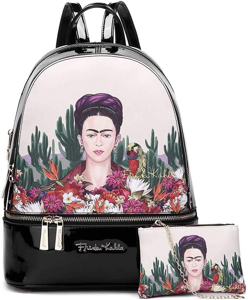 Frida Kahlo Cactus Licensed Faux Large Black Year-end gift Backpack Albuquerque Mall Leather