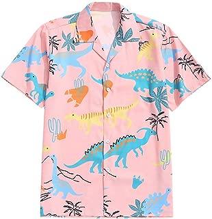 Men's Casual Short Sleeves Animal Dinosaur Print Shirt Button Up Shirt