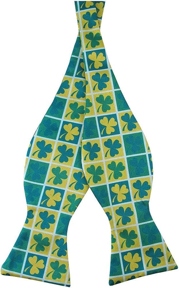 Jacob Alexander Men's St. Patrick's Day Shamrock Squares Adjustable Self-Tie Bow Tie