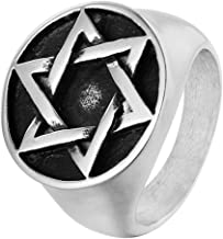 SAINTHERO Men's Vintage Stainless Steel Round Signet Ring Hexagram Six-Pointed Jewish Star of David Biker Rings Size 8-12