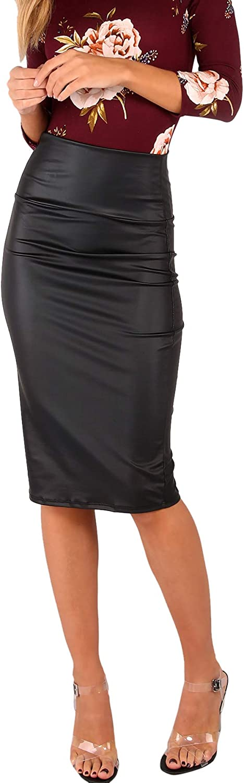 SheIn Women's Basic High Waist Bodycon Stretchy Coated Pencil Skirt