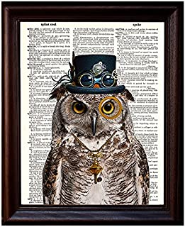 Dictionary Art Print - Steampunk Owl