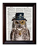 Dictionary Art Print - Steampunk Owl 'Sir Oliver Owlfeather' with Top Hat and Goggles and Skeleton Key - Printed on Recycled Vintage Dictionary Paper - 8'x11' - Mixed Media Poster on Vintage Dictionary Page