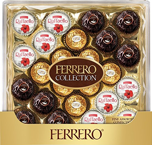Ferrero Rocher Fine Hazelnut Milk Chocolates, 24 Count, Assorted Coconut Candy and Chocolate Collection Gift Box, 9.1 oz