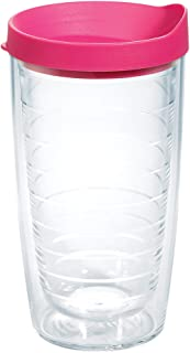 Tervis Clear & Colorful 16oz Insulated Tumbler, Fuchsia Lid
