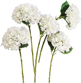 PARTY JOY 5PCS Artificial Hydrangea Silk Flowers Bouquet Faux Hydrangea Stems for Wedding Centerpieces Home Decor (White, 5)