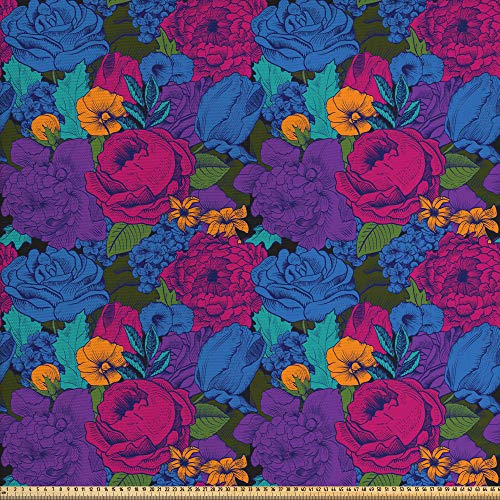 ABAKUHAUS Blumen Gewebe als Meterware, Vintage üppiger Blumenstrauß, Dicht Gewebter Stoff zum Nähen Polster Wohnaccessoires, 3M (148x300cm), Mehrfarbig