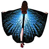 HitHopKing Carnival Women's Beautiful Eye-Catcher Butterfly Wings Scarf Costume Accessories (blue, 66' x 53')