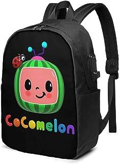 Coco-Melon Mochila Estudiante Bolsa con Puerto de Carga USB, Bolsa de Viaje de 17 pulgadas