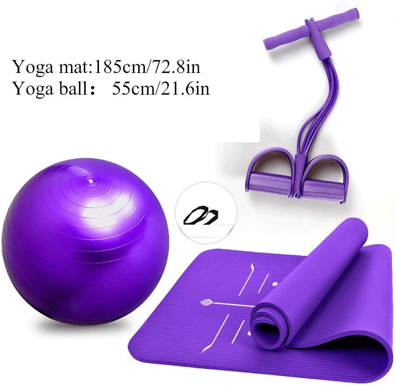 Qinmo Large Padded Yoga mat for Yoga Ball with Handle Pilates Sports Gymnastics    Purple Pink
