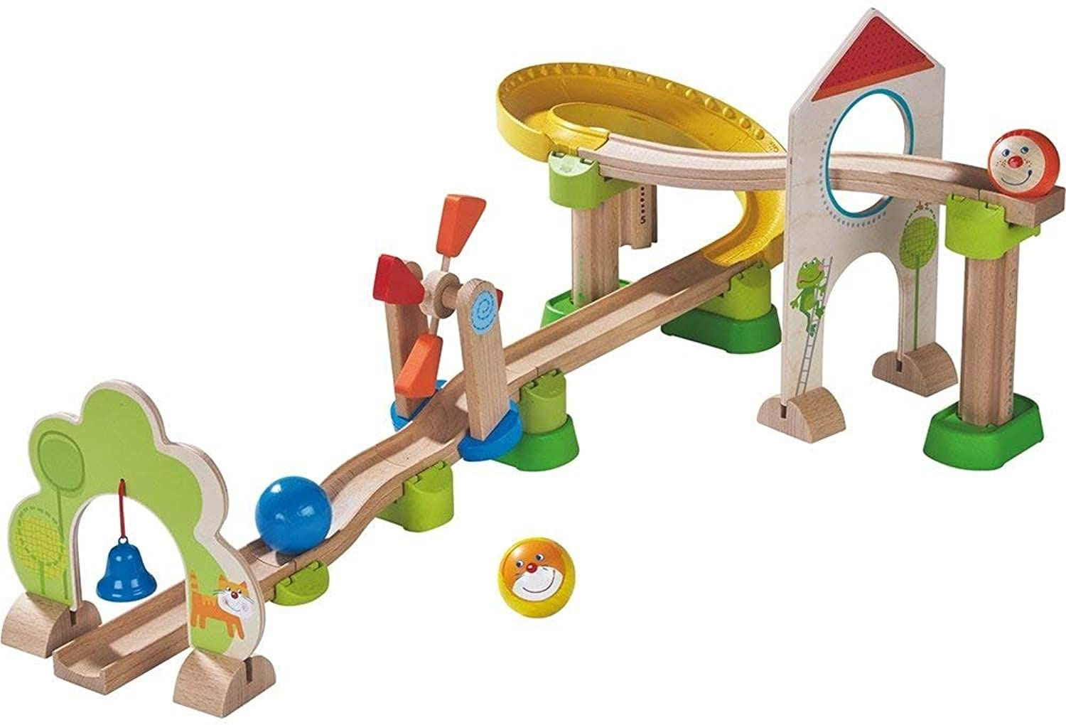 HABA Kullerbu Windmill Playset  25 Piece Ball Track Starter Set with Special Effects  Ages 2+