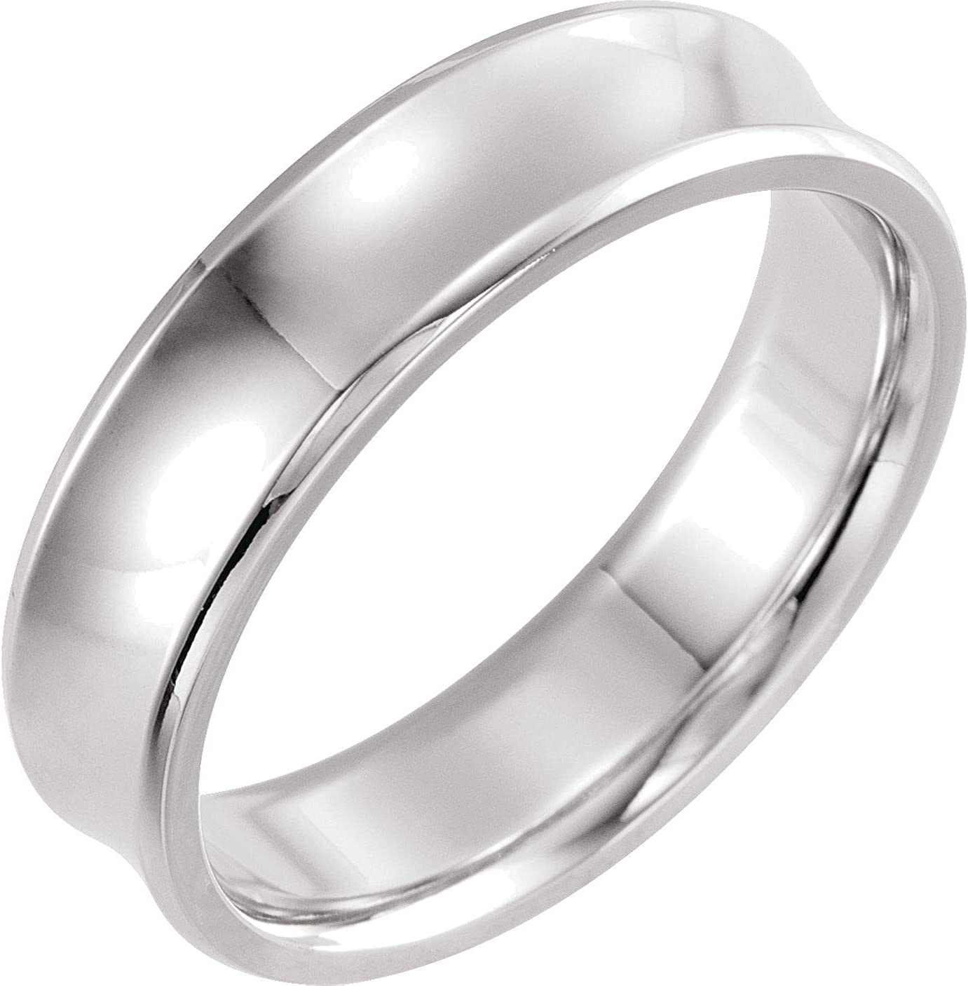 Bonyak Jewelry New mail Outstanding order Solid Sterling Silver Beveled-Edge Ba 6mm Concave