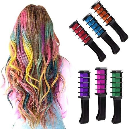 Tiza para el cabello, 6 colores, brillo temporal, color crema lavable, tiza para el cabello, con cepillo