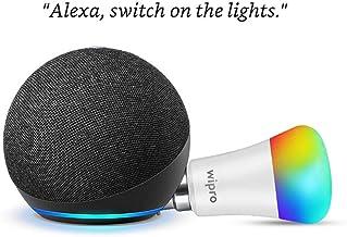 Echo Dot (4th Gen, Black) Combo with Wipro 9W LED Smart Color Bulb - Smart Home Starter Kit
