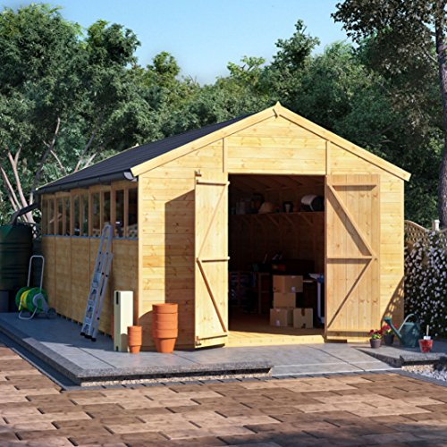 BillyOh Expert Tongue and Groove Apex Workshop | Garden Storage Shed | Floor, Roof and Felt Included | Windowed or Windowless Options- Multiple Sizes (20x10 Windowed)