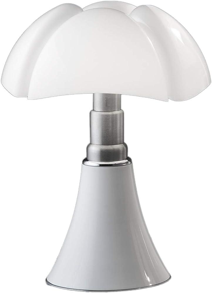 Martinelli luce pipistrello,lampada da tavolo ,in alluminio,acciaio e metacrilato bianco 620/MED/DIM/BI