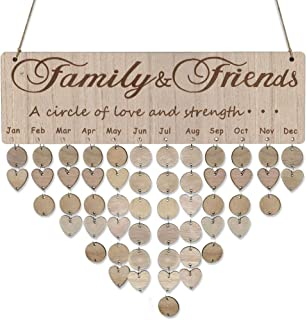 Mome 🍓Family Hanging Calendar🍓Family Board Plaque DIY Hanging Wooden Birthday Reminder Calendar,Great Gift for a Birthday, Wedding, Anniversary, Valentine's Day, Mother's Day etc. (C)
