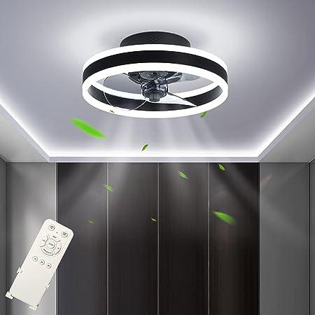 Ventilateur de Plafond LED Dimmable (3000-6500K) Fan Plafonnier Silencieux Ventilateur Plafonnier avec Télécommande 48W Réglable 4 Vitesse Plafond Moderne Pour Chambre Salon Restaurant Ø40cm