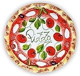 Lashuma Handgemachter Pizzateller Tomate Mozzarella aus Italienischer Keramik, Großer Teller Rund 33 cm