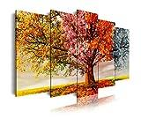DekoArte 404 - Cuadros Modernos Impresión de Imagen Artística Digitalizada | Lienzo Decorativo Para Tu Salón o Dormitorio | Estilo Paisaje Árboles Cuatro Estaciones Del Año | 5 Piezas 200 x 100 cm XXL