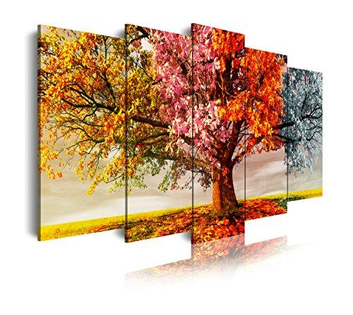 DekoArte 404 - Quadri moderni Stampa di Immagini Artistica Digitalizzata | Tela Decorativa Per Soggiorno o Stanza da letto | Stile Paesaggio Alberi quattro stagioni dell'Anno | 5 Pezzi 200 x 100cm XXL