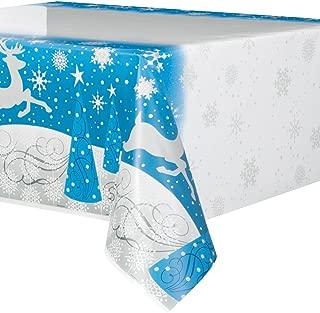 Silver Snowflake Christmas Plastic Tablecloth, 84