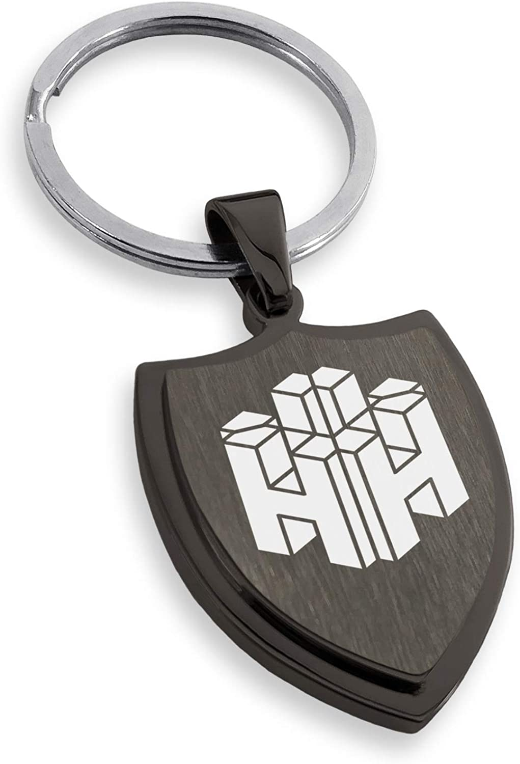 Tioneer Stainless Steel Letter H Initial 3D Cube Box Monogram Shield Keychain Keyring
