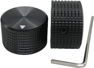 Taiss/ 2pcs Black Aluminum Rotary Electronic Control Potentiometer Knob For 6 mm Diameter Shaft, Volume Control Knob, Audio knob, Guitar Knob,Electric Guitar Knobs, 25mm dia. x 15mm height