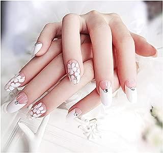 Drecode False Nails Bling Rhinestone Flower Nail Tips Fake Nails Wedding Birthday Party Acrylic Nails for Women and Girls