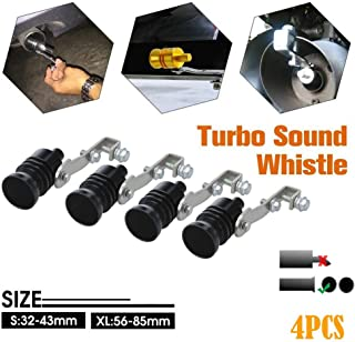 Wenini Car Exhaust Pipe Oversized Roar Maker, Loud Whistle Sound Maker, Make Your Vehicle Sounds Like A Turbo Vehicle with The Turbo System Or Blow Off Valve (XL, 4PCS Black)