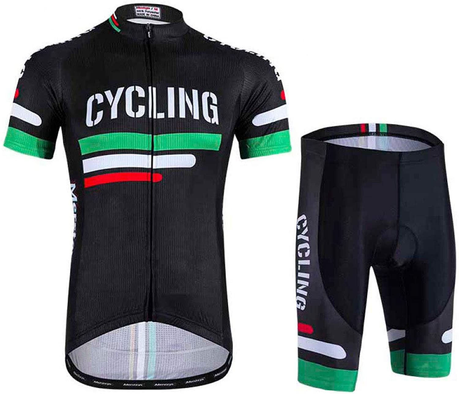 Cycling Sweatshirt Breathable Short Sleeve Cycling Jersey with 3D Gel Pad Strap Shorts for Professional Cycling Clothing,GreenXXXL
