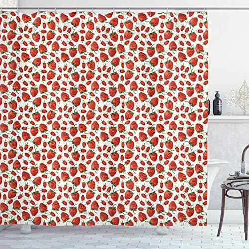 ABAKUHAUS Erdbeere Duschvorhang, Realistische reife Berry, mit 12 Ringe Set Wasserdicht Stielvoll Modern Farbfest & Schimmel Resistent, 175x180 cm, Hellgelb Farngrün Zinnoberrot