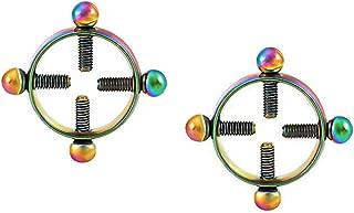 Body Piercing Rings,IrBingNii Women Shields,Screw Body Piercing Jewelry Adjustable Circle,None Piercing (Multicolor)