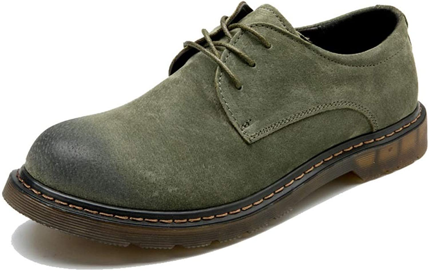 BND-SHOES ,Men's Fashionable Ankle Boots Casual OX Leather Lace-up Round Toe Work shoes Durable,Stand Wear and Tear (color   Green, Size   10 UK)