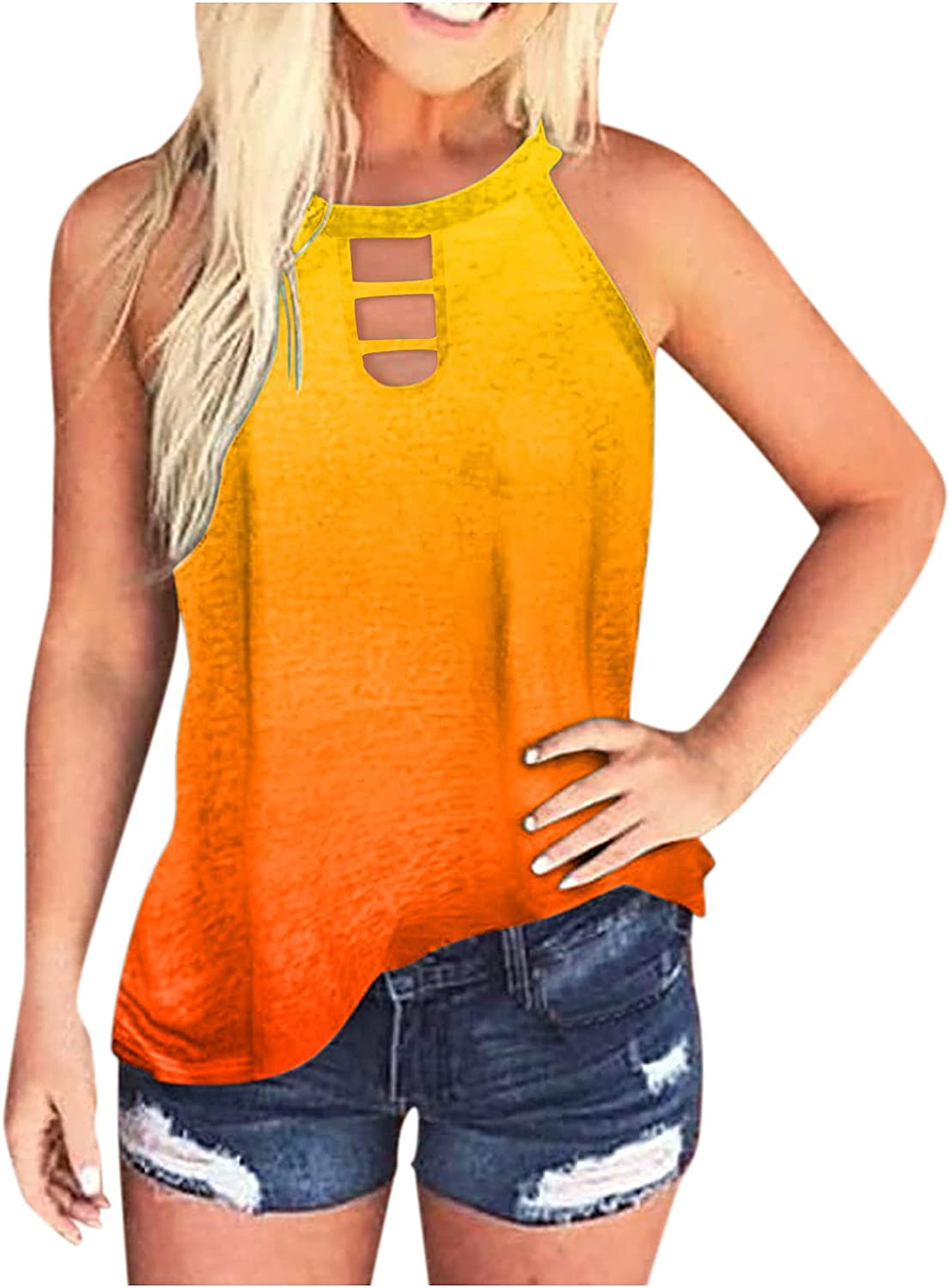 AODONG Tank Tops for Women Trendy, Womens Tie-Dye Shirts Summer Sleeveless Daily Tees Loose Blouses Pullover T-Shirts