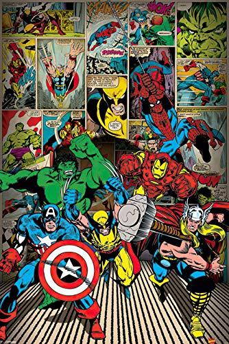 Marvel Maxi-Poster mit den klassischen Marvel-Helden Spiderman, Thor, CaptainAmerica, Hulk, Wolverine und IronMan, 61x91,5cm
