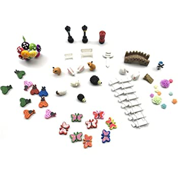 STUDYY Miniature Garden Ornaments, 58 Pcs Miniature Ornaments Kit Set with 1 Pcs Tweezer for DIY Fairy Garden Dollhouse Decoration