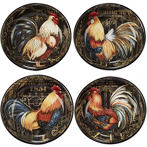 Certified International Gilded Rooster Set/4 Soup/Pasta Bowl 9.25' x 2', Assorted Designs,One Size, Multicolored