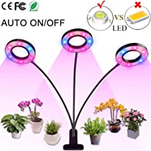 Professional Grow Light, 36W LED Full Spectrum Plant Light for Indoor Plants, Auto ON Off Timer, 8 Dimmable 4/8/12H Timing Triple Head Growing Lamp for Gardening Seedling Herb Succulent Hydroponic