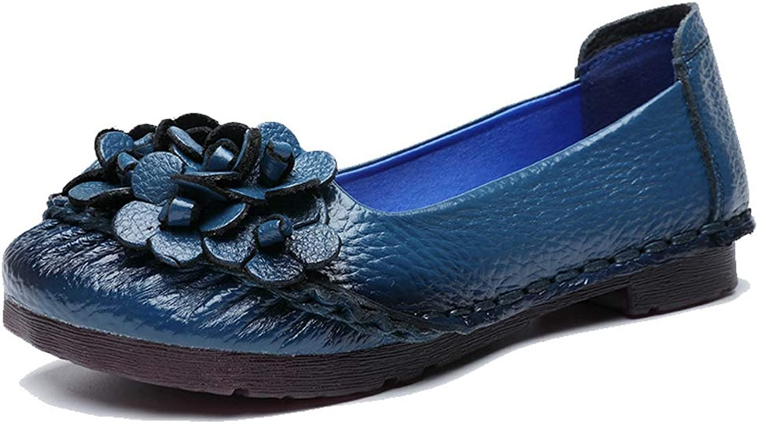 CYBLING Women's Leather Loafers Floral Slip On Driving Moccasins Casual Flat shoes
