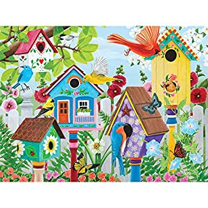 """Bits and Pieces - 500 Piece Jigsaw Puzzle for Adults 18"""" X 24"""" - Birdhouse Garden - 500 pc Colorful Birds, Birdhouses, and Butterflies Jigsaw by Artist Kathy Bambeck from Melville Direct"""