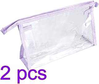 Cabilock 2pcs Transparent Travel Toiletry Bag Waterproof Make-up Bags Plastic PVC Travel Cosmetic Pouch Zipper Closure (Purple)
