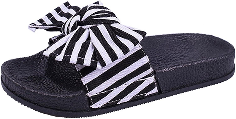 Giles Jones Wedges Flip Flops Sandals for Women,Classic Striped Bow Flat Platform Beach Slipper shoes