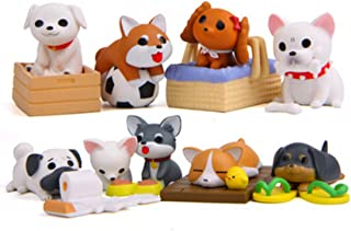 Beauy Girl 8 Pcs Deluxe Dog Figurines Playset, Cute Dog Figures, Mini Dog Figure Collection Playset, Cupcake Topper