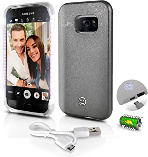 Samsung Galaxy S7 Phone Case - Lite-Me Selfie Lighted Edge Smart Mobile Case with Built-in Power Bank, LED Lights - Heavy Duty Cellphone Protection Cover for Men/Women - SereneLife SL302S7GR (Gray)