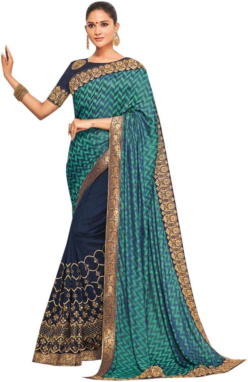 bluee Check Palla Saree Blouse Light Weight Party Wear Sari 7496