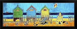 CANVAS ON DEMAND Beach Huts Black Framed Art Print, 39