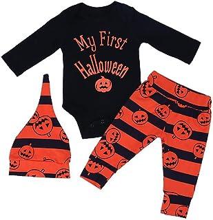 Traje de Halloween para Bebé Niña Niño Monos + Pantalón + Sombrero Ropa de Manga Larga, 0-18 Meses